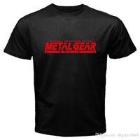engrenagem metálica curta venda por atacado-Chegada nova Curto Moda Metal Gear Tripulação Pescoço Curto-Luva Dos Homens Camisetas