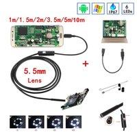 usb endoscope 5.5mm venda por atacado-Endoscópio da câmera HD USB do endoscópio de 5.5mm com o endoscópio impermeável da inspeção do cabo macio de 6 diodos emissores de luz para o PC do andróide