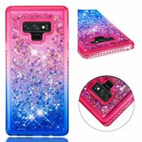 notiz-treibsand-fall großhandel-Mode für Iphone 11 Fall Glitter Flüssigkeit Quicksand Sparkle glänzender Bling Diamant-Kasten für Iphone XR XS Max für Samsung Note 10 Pro