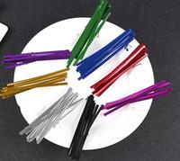 ingrosso legami colorati-2019 Candy Bag Packaging Ligation Colorful Fasteners Strumenti di tenuta Wire Metallic Twist Ties Cake Gift Twist Tie Kitchen Gadgets