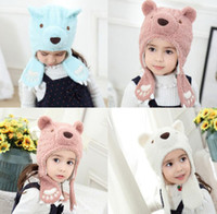 Wholesale bear hat crochet resale online - Baby Beanies Children Cartoon Bear Plush Hats Kids Earmuffs Caps Headwear Kid Winter Warm Hat Fleece Thick Cap color GGA2745