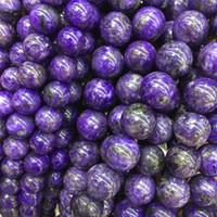 perles de puissance violet achat en gros de-Véritable Russie Naturel Pourpre Charoite Boulier Boules Forme Ronde Perles 6/8 / 10mm DIY Bijoux Making Healing Power Energy Stone Gift