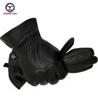 черные перчатки из меха кролика оптовых-кожа зима мужчина олень кожа перчатки мужчины теплая мягкая мужская рука рукав черные мужские варежки имитируют мех кролика 70% шерсть