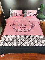 funda de edredón rosa al por mayor-Logo popular D Carta traje de cama Rosa raya Rejilla Diseño de la flor del edredón Juegos de fundas 4PCS ropa de cama de primavera verano
