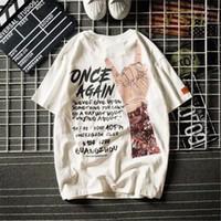 manga tatuagem t shirts mulheres venda por atacado-2019 novo verão letra grande maré T-shirt hip-hop high street camiseta homens e mulheres de manga curta flor braço tatuagem masculina tshirts