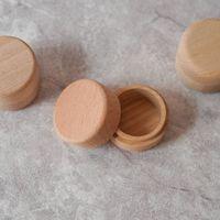 cajas redondas de anillos al por mayor-Caja de almacenamiento redonda pequeña de madera de haya Retro Caja del anillo de la vendimia para la boda Caja de joyería de madera natural
