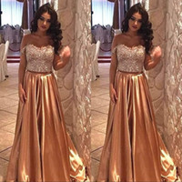 Wholesale sexy silk pieces gown online - Sexy Sweatheart Gold A Line Prom Party Dresses Crystal Beaded Collar Ruffles Sleeveless Two Pieces Formal Evening Gowns