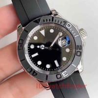 yacht schwarz großhandel-Neue 2019 Black Rubber Oysterflex Strap Yacht Keramik Lünette Master Herren Rose Gold Luxusuhr automatische Reloj Master Armbanduhren Uhren