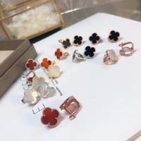 fleur de coquillage achat en gros de-Qualité de luxe Famous Brand S925 Boucle d'oreille en argent avec 1,5 cm en forme de fleur et coquille de la nature Marque de mode Boucles d'oreilles bijoux cadeaux de mariage