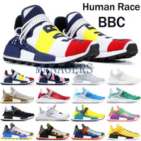 Wholesale mens soft spikes running shoes resale online - NMD Human Race BBC Running shoes Pharrell Williams Solar Pack Mother designer shoes mens womens friends and family Oreo Nerd Sneakers