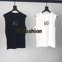 Wholesale men fashion tanks resale online - 19ss Europe Paris Sequins Cooperate Laser Print Sleeveless Tshirt Vest Fashion Men Women High Quality Tank Top T Shirt Casual Cotton Tee