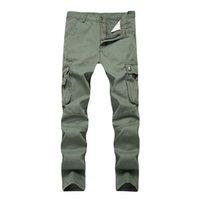 pantalon décontracté kaki pour hommes achat en gros de-2018 Pantalon Dropshipping Hommes Kaki chino Coton Sergé Army Green Vêtements de travail Pantalons simple Safari Cargo droite