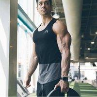 erkek külotlu çoraptan takımlar toptan satış-Yaz Yeni Tank Top Erkek Spor Salonları Giyim Vücut Geliştirme Fitness Egzersiz Kas Erkekler Yelek M-XXL Ile Spor Fanila