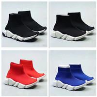 orta yüksek ayakkabı botları toptan satış-2018 Çocuk Moda Bilek Boots Hız Stretch Mesh Yüksek Top Trainer Koşu Ayakkabı Hız Örme Çorap Orta Üst Trainer Sneakers