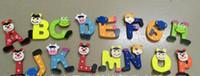 ahşap alfabe mektupları toptan satış-Eğitim Öğrenme Oyuncaklar Alfabe Manyetik Renkli Hayvan Ahşap Buzdolabı A-Z Mektuplar Ahşap Karikatür Dolabı Mıknatıslar 26 adet Eğitim Oyuncaklar