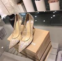 chaussures de marque femmes chaussures de luxe achat en gros de-2019 nouvelles marques de luxe chaussures de mariage femmes fond rouge occasionnels talons hauts designer de mode femmes bout pointu pompes pompe chaussures de soirée 35-39