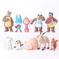 Wholesale figures dolls for sale - Group buy 10 Pieces Set MashaBear Action Figures Toys Misha Big Brown Bear Doll Toys cm MashaBear Hand Doll Display Decoration Supplies L198