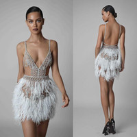 Wholesale vintage pageant wear for sale - Group buy Sexy Feathers Mini Short Cocktail Dresses with Beaded Spaghetti V Neck Club Wear Dress Backless Pageant Party Gowns