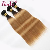 tone ombre gerade haare großhandel-Honey Blonde Ombre Haar spinnt gerade Menschenhaar-Tressen Extensions 3 Bundles 1B # 27 Two Tone Farbige brasilianische Remy Haar-Webart Bundles