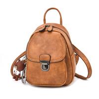 mochila de cuero vintage al por mayor-Cuero de la PU Mini mochila Mujer Mujer Casual Impermeable Retro Smal Back pack para niña negro gris caqui marrón púrpura 2018