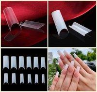 quadratische nagelspitzen großhandel-504 Stück Ultra Thin Konische Quadrat Nagel spitzt C Curve halbe Abdeckung falsche Nagel-Spitze (Clear / Natural)