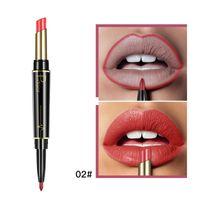 Wholesale purple lipstick resale online - Pudaier Matte Moisturizing Double Heads Lipstick Permanent Waterproof Lip Liner