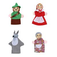 jouets d'équitation en peluche achat en gros de-doigt 4pcs / set petit chaperon rouge doigt doigt enfants conte de fées histoire main marionnettes enfants conte enfants peluche poupées jouets