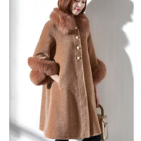 меховые манжеты оптовых-Real wool coat women natural fur jacket fashion single breasted fur outerwear with genuine  collar cuff plus size