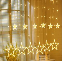 Wholesale led white wall curtain lights resale online - Led star string lights holiday starry bedroom curtains star lights wedding star decoration lights