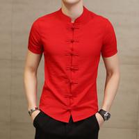 schwarze leinenspitzen großhandel-Leinen Kurzarm Herren Businesshemd Top Sommer Plus Size Chinesischen Stil Schwarz Slim Herrenhemden Streetwear Männlich Tops