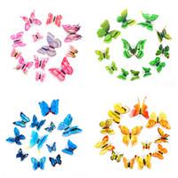 renkli kelebek dekor toptan satış-12 adet 3D Kelebek Duvar Çıkartmaları PVC Simülasyon Renkli Kelebek Çıkarılabilir Duvar Çıkartmaları Buzdolabı Mıknatısları Sanat Çıkartmaları Çocuk Odası Ev dekor