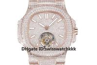швейцарский бриллиант 18k оптовых-2019 Новые мужские наручные часы с автоподзаводом и турбийоном Sapphire Crystal Full Diamond 18K розовое золото супер светящиеся мужские часы