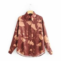 tops vorne langer rücken großhandel-Lässige Front Short Back Long Tops Femme Fleck Burgund Blusen Frauen Animal Print Burgund Shirts Damen Streetwear Coole Kleidung