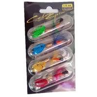 tüylü eğirmen toptan satış-Rompin 4 adet / takım balıkçılık Spinner Yem Lures Wobblers CrankBaits Tüy Hooks Ile Jig Metal Pullu Alabalık Bas Kaşık 5 cm 2.15g