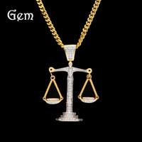 14k weißgoldketten großhandel-Neue Iced Out Zirkon Balance Waage Skala Anhänger Bling Charme Weißes Gold Material Herren Hip Hop Anhänger Halskette Kette