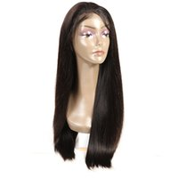 Wholesale burmese silk top wig resale online - Good quality Silk top Front Lace silky straight Brazilian Wig Human Hair Vrigin Natural Color for black women No tangle long lasting