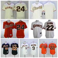 ingrosso sfere di jersey di baseball-Magliette da baseball Willie Mays Giants Matt Williams Joe Panik uomo Will Clark bianco nero arancione crema bianco