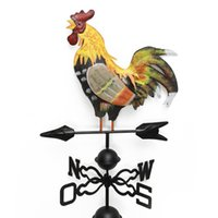 Wholesale metal yard resale online - Colorful Decor Easy Use Retro Yard Weather Vane Spinner Professional Wind Direction Rooster Design Craft Durable Iron Structure