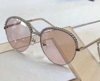 boite à lunettes achat en gros de-4242 Lunettes de soleil rondes Collier en argent Chaîne Lunettes de soleil Femmes Designer Lunettes de soleil Shades Brand New avec boîte