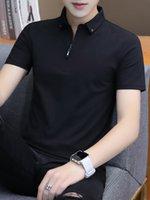 camisa de gola de gola de zíper venda por atacado-T-shirt de manga curta de verão dos homens de lapela Slim Zipper meia-manga com tendência Collar