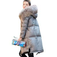 kapüşonlu koyun derisi ceket toptan satış-Kış Aşağı Ceket Kadınlar Doğal Rakun Kürk Yaka Kapşonlu Hakiki Deri Ceketler Güzel Sıcak Gerçek Koyun Ceket