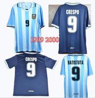 mens thai futbol formaları toptan satış-ÜST tay 1999 2000 Retro Arjantin Batistuta VERON Redondo CRESPO Futbol Forması 99 00 Amerika Kupası Erkek Futbol formaları Kiti