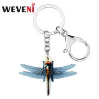 cefc27254ee7 Weveni acrílico de dibujos animados libélula llavero llavero anillo  colgante de joyería de insectos de verano para mujeres niñas adolescentes  encantos del ...