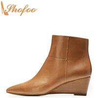 cuña sexy botas altas marrones al por mayor-Tacones Mujer Brown botas del tobillo de la cuña de punta estrecha botines con cremallera de gran tamaño 14 16 para los zapatos de las señoras atractivas de la manera maduros Shofoo