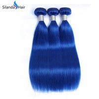 Wholesale pure remy blue hair for sale - Group buy Pure Colored Blue Straight Hair Weft Weave Remy Human Hair Bundles
