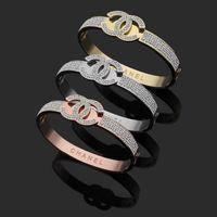 letter gold bracelet großhandel-2019 Top Qualität 3 Farben Designer Titan Stahl Armband Explosion Modell C Brief Schlamm Bohrer voller Diamant Armband Großhandelspreis Armreifen