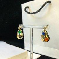 cabaça de ouro venda por atacado-Luxo designer de casamento brincos de jóias 18 k banhado a ouro em forma de Cabaça ágata brincos de orelha mulheres banquete jóias Valentine gif