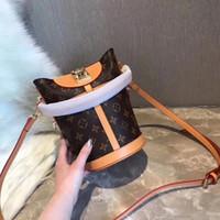 bucket shaped bag toptan satış-2019 yüksek kalite marka klasik baskı kadın kova çanta kız bayan çanta yenilik şekli tasarım kadının çanta tote Crossbody Messenger çanta