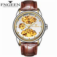 cuir de marqueur achat en gros de-FNGEEN Bracelet en cuir véritable Montres mécaniques appliquées index doré index cadran squelette mouvement automatique montre de mode