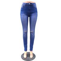 jeans ajustados desgastados al por mayor-Mujeres de alta calidad Runway 2019 moda de verano Sexy estiramiento Bodycon ahueca hacia fuera el agujero flaco Denmin Boyfriend Ripped Jeans